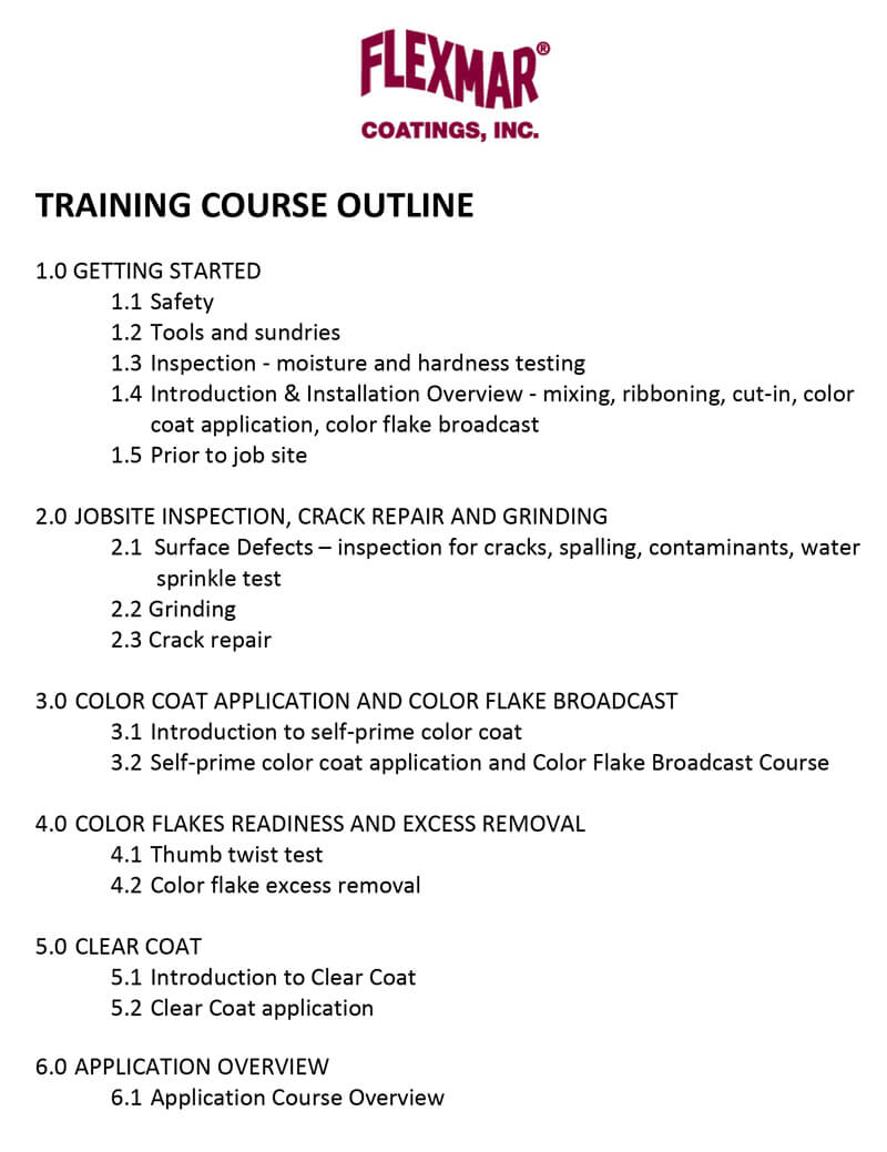 FLEXMAR Training Course Outline